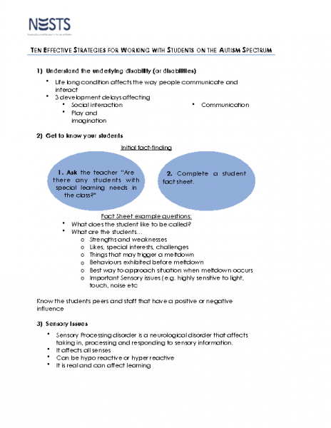 NESTS Tip Sheet – Ten Effective Strategies for Working with Students on the Autism Spectrum